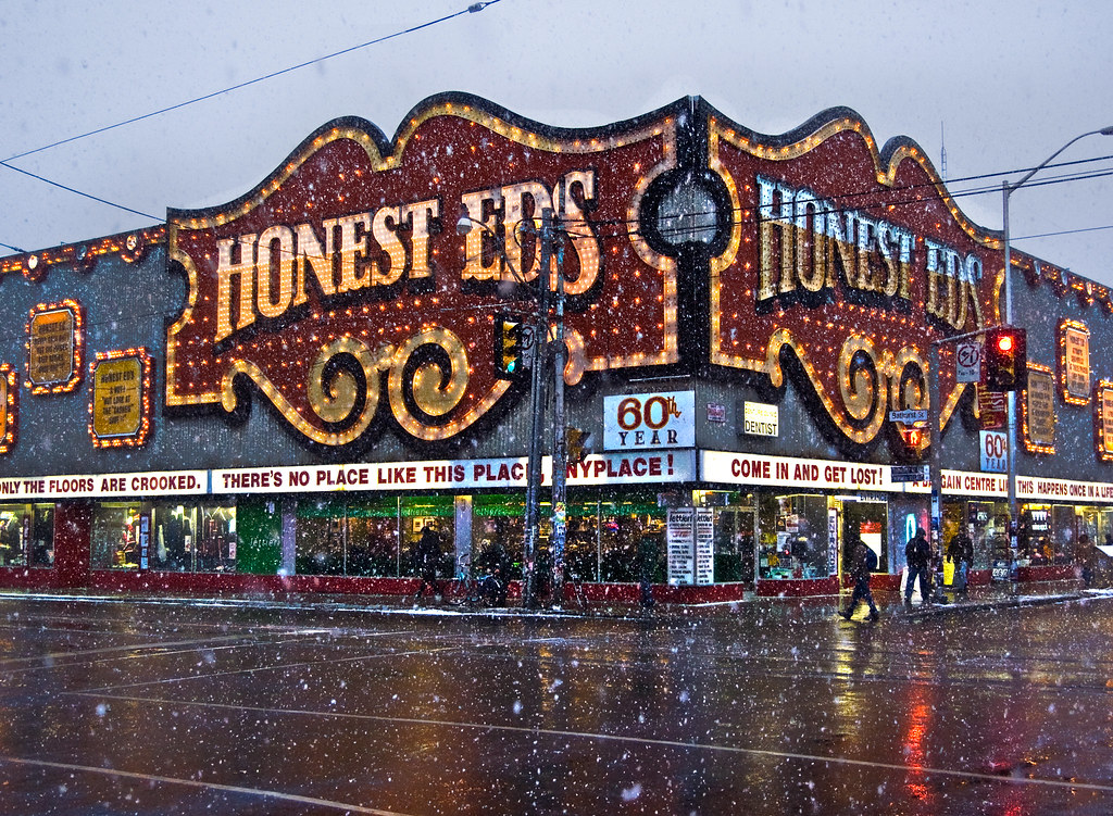 Honest Ed's on snowy evening