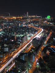 expressway route 16 (k n u l p) Tags: city building japan night lights bay highway view shot olympus area osaka wtc expressway hanshin ep1 zd 1454mm