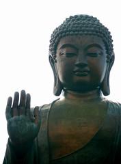 Abhayamudra on Lantau Island (xopherlance) Tags: china statue geotagged hongkong asia buddha swastika squint bigbuddha lantauisland polinmonastery lantau sunwheel ngongping abhayamudra tiantanbuddha dhana  eyeshalfclosed siddharthagautama  eyeshalfshut geo:lat=22255082 geo:lon=113906089 sleepybuddha