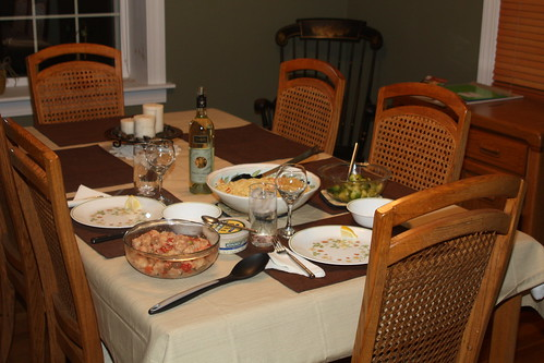 Linguine and shrimp, panzanella salad, brussels sprouts
