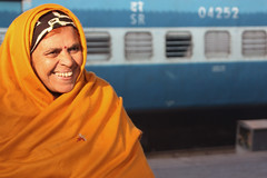 On a journey (martien van asseldonk) Tags: woman station train hijab dehli martienvanasseldonk