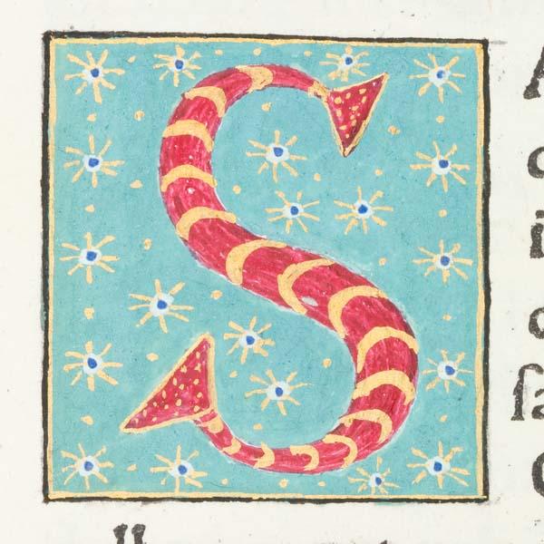 "Decorated initial ""S"" from Scriptores historiae Augustae"