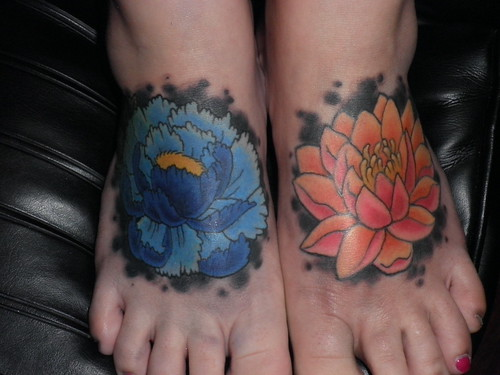 Peony Tattoo, Flower Tattoo, Lotus Tattoo, foot tattoo, by Lucky Bamboo