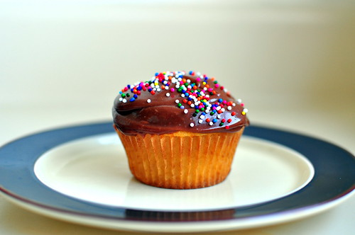 YELLOW CUPCAKE WITH CHOCOLATE FROSTING