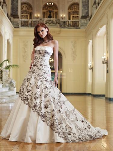 A-line strapless lace satin long white wedding dress by dress pic!.