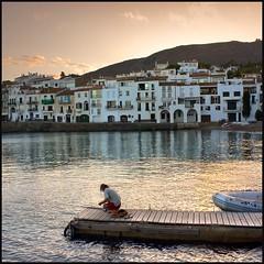 Serenity (Pilar Azaa Taln ) Tags: sunset espaa reflections atardecer spain catalua gerona pescador reflejos cadaqus pilarazaataln copyrightpilarazaataln