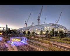 Melbourne Rectangular Stadium (WilliamBullimore) Tags: city trees grass sport skyline architecture concrete evening construction skyscrapers traffic dusk streetlights stadium au overpass australia melbourne tunnel victoria structure cranes motionblur walkway freeway lighttrails underconstruction bitumen canonef2470mmf28lusm digitalcameraclub sportsstadium canonrc1wirelessremote manfrotto190xbtripod canoneos5dmarkii eurekabuilding manfrotto322rc2heavydutygripballhead melbournerectangularstadium