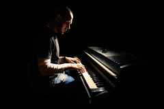 Pianist (alexey05) Tags: show people musician music playing man black male guy electric person glasses concert play adult stage performance dream young piano calm entertainment study sound instrument classical behind practice pianist performer learn caucasian