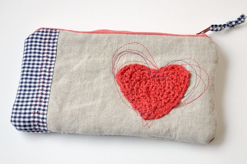 valentine's day : inspired zippered pouch