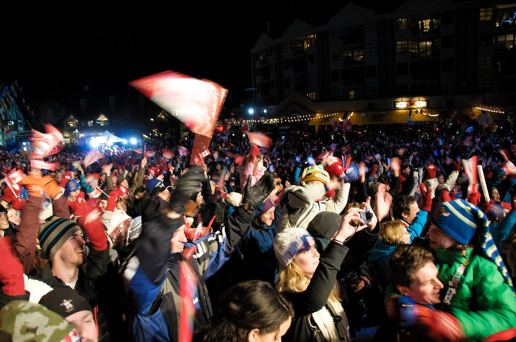 Crowd at Skiier's Plaza Whistler