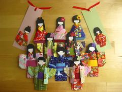 Family of Origami Dolls (umeorigami) Tags: japan scrapbook paper origami doll embellishment folded paperdoll warabe ningyo chiyogami