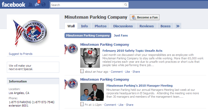 Minuteman Parking Fan Page on Facebook