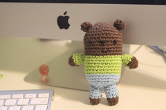 hi bear  *gone (oliveoh) Tags: bear blue brown cute green apple canon pig mac teddy handmade crafts crochet yarn homemade cotton gift swap kawaii amigurumi trade 50d swapbot