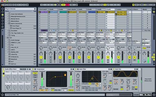 "Ableton Live screenshot of Bill Van Loo remix of Joshua Schnable's ""1970 Sumeria"""