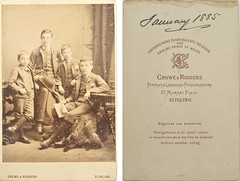 Unknown portrait of four boys, assumed to be Robert, Norman, Archibald & Francis Dickson, dated January 1885, by Crowe & Rodgers, Stirling, from mystery album