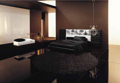 Interior lighting in the bedroom with a modern minimalist design