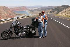 Old Bike, Same Wife! (willie's stuff) Tags: road lake canon eos utah ut desert low harley 10d rider