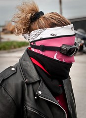 (Lil Wally) Tags: woman girl leather lady hair mask goggles jacket biker rider facemask motorcyclerider