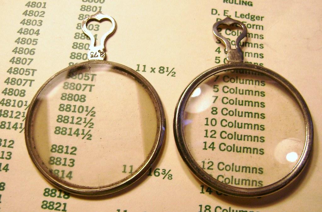Set of 2 Antique Silver Optical Lens Heart Tops