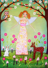 Fairytale Forest Fairy Art Painting by Sascalia (sascalia) Tags: pink flowers original girls summer orange flower cute rabbit bunny bird art nature girl beautiful leaves birds collage illustration angel fairytale garden painting print children spring wings colorful pretty child dress princess blossom folk mixedmedia blueeyes redhead deer spots fairy fawn fantasy spotty owl etsy magical owls whimsical faries sascalia