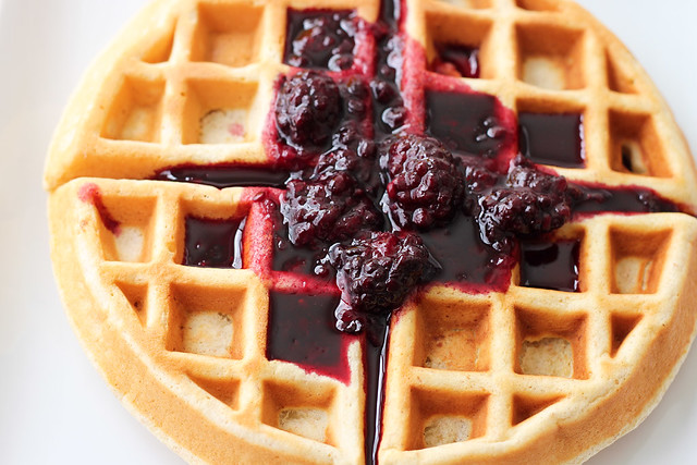 Heart Healthy Waffles with Blackberry Syrup