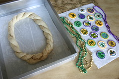 Traditional King Cake (The Cake Batter) Tags: new party baby lake green me cake bread rouge gold la beads orleans louisiana king purple mask cinnamon fat traditional charles parade ring tuesday mister something edible mascarade baton throw braid necklaces doubloons