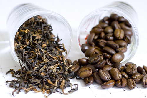 black tea and coffee beans