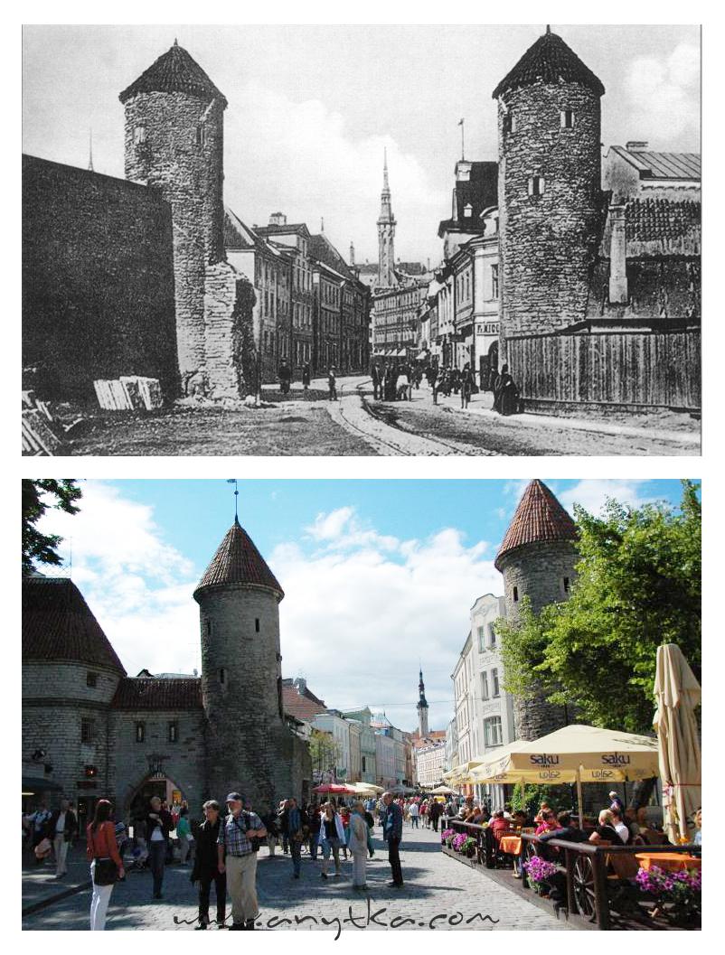 Вирусские ворота  и улица Виру сейчас и сто лет назад.