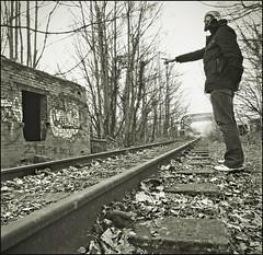 fiaxation creative (matthewheptinstall) Tags: urban war traintracks perspective surreal wakefield gasmask coldwar darkart dystopia trainline thebestofday gününeniyisi