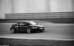 R8. (Denniske) Tags: blackandwhite bw motion black speed canon photography eos is movement noir belgium belgique action 10 events belgi automotive 02 l 20 february dennis audi panning circuit zwart nero 42 f28 ef schwarz v8 20th limburg 2010 zolder trackday quattro r8 fsi 70200mm noten lseries llens 40d skylimit denniske dennisnotencom audir8bydennisnotencom