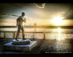 Captain Walker at the Pier Head, Liverpool (Lee Carus) Tags: sunset sea statue architecture liverpool walker pancake johnnie hdr goldenhour merseyriver 3graces panasonicgf1 leecarus merseyferrie