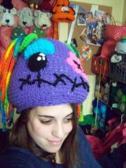 101_1118 (CrazyHatSociety) Tags: halloween rainbow purple cosplay handmade humor adorable hats creepy etsy geekery deadbaby neoncolors ravelry crazyhatsociety threadknits tauntonstitchandbitch