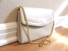 Vintage ivory purse with gold chain strap (MySoCalledVintage) Tags: white leather fashion metal vintage bag gold mod hand metallic cream ivory retro chain cocktail purse strap faux accessories etsy 1970s shoulder handbag mysocalledvintage