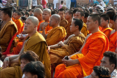 Monks (Ursula in Aus - Away) Tags: tattoo thailand yantra tattooing waikhru nakhonpathom   sakyant tattoofestival  watbangphra nakhonchaisi earthasia nakhonchaisri totallythailand