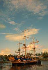 pirate ship (Lina Hughes) Tags: trip blue summer sky holiday water ship sigma australia pirate queensland lina distillery goldcoast brissie summerbreak surferparadise seaword pentaxk100dsuper