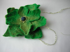 Green felted flower