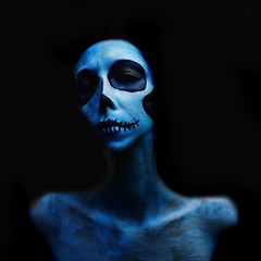 (Danielle_T) Tags: blue portrait cold colour art halloween me girl strange face digital dark death skull weird insane intense eyes emotion head digitalart dream surreal freaky creepy mum psycho scarey horror nightmare unusual mad lucid nasty danielletunstall