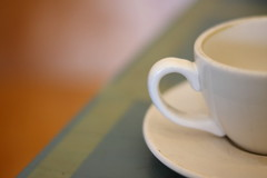 tea cup, saucer, table (mehampson) Tags: white cup colors soft tea drink bokeh beverage somerville mate latte unionsquare