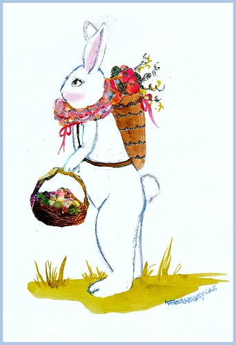 easter bunny with basket of flowers