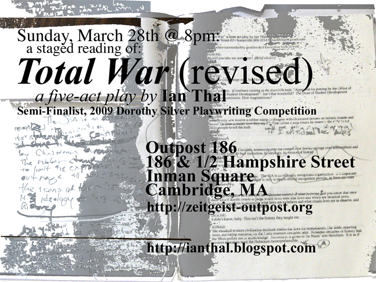 "Poster for Staged Reading of ""Total War"" 3/28/2010"