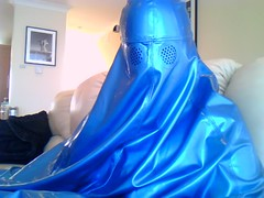 Startled Burqa Bird (latexladyll) Tags: blue fetish veil rubber latex submission burqa silenced gagged enclosure bdsmlifestyle