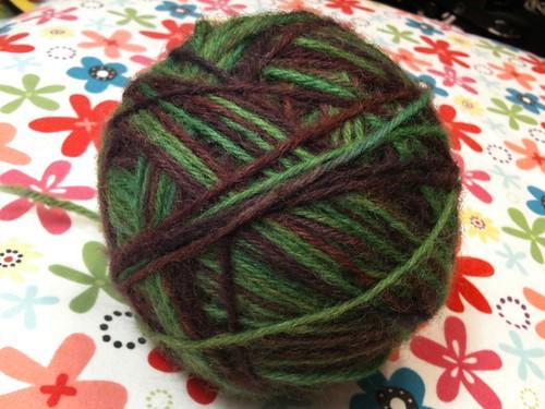 Overdyed wool yarn