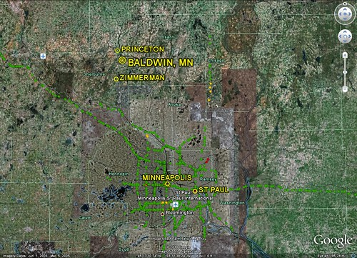 Baldwin, 40 mi N of the Twin Cities (image by Google Earth, labels by me)