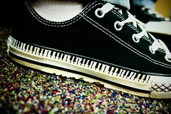 Piano (Kid Gibson) Tags: music white black canon keys carpet shoe rebel sock piano kitlens adobe converse sharpie 1855mm sg xsi lightroom strongcontrast harbree breciaharris