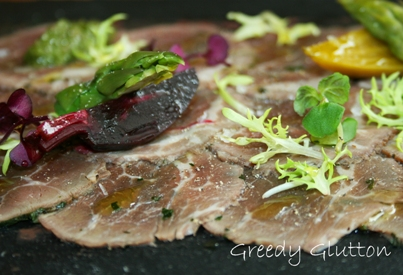Australian Veal Tenderloin Carpaccio, served with Olive Raisin Tapenade and Cabernet Mustard