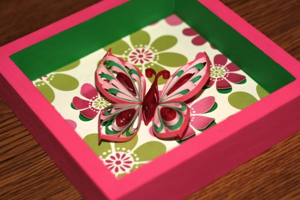 Pink & Green Quilled Butterfly Box