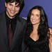 "Aston Kutcher and Demi Moore in a Black Dress at ""A Night At Sardi's"" Annual Fundraiser"