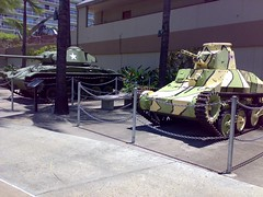 US and Japan's vehicles displayed in front of US Army Museum