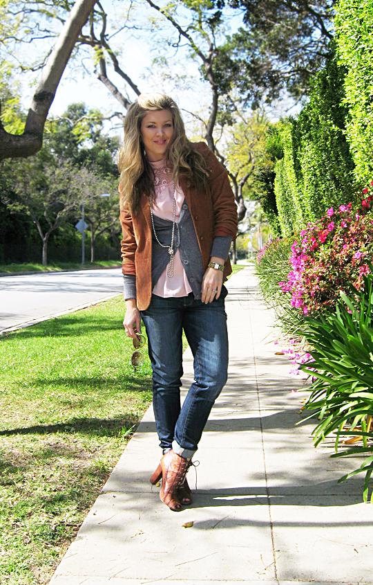 jeans blazer lace up boots 6 sharp