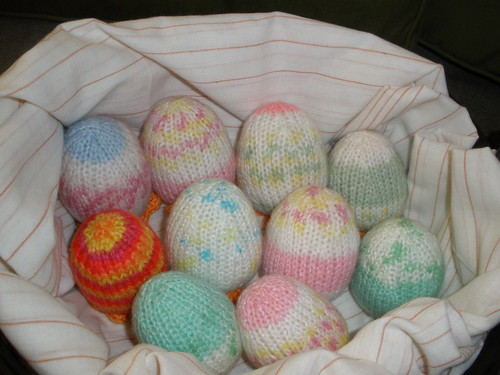 Easter Eggs knitted with self patterning yarn